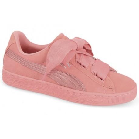 puma suede heart buty damskie sznurowane na kokardę rózowe 364918 05